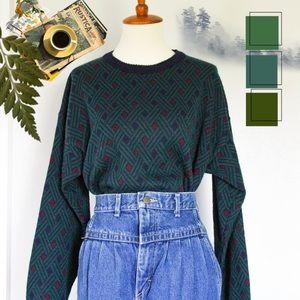 ☾ Vintage geometric pattern wool sweater